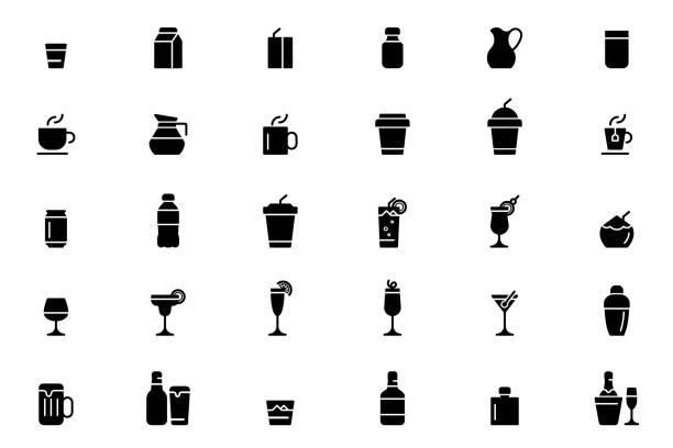 illustrations, cliparts, dessins animés et icônes de icônes de boisson - boisson