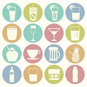 vector white icons drink set