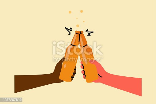 Drink, leisure, alcohol, celebration concept. Man and woman hands holding lager beer bottles and clinking together. Friendly cheers up and toasts and relaxation or recreation lifestyle illustration.