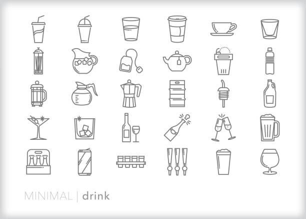 illustrations, cliparts, dessins animés et icônes de ensemble d'icône de ligne de boisson - bouteille d'eau