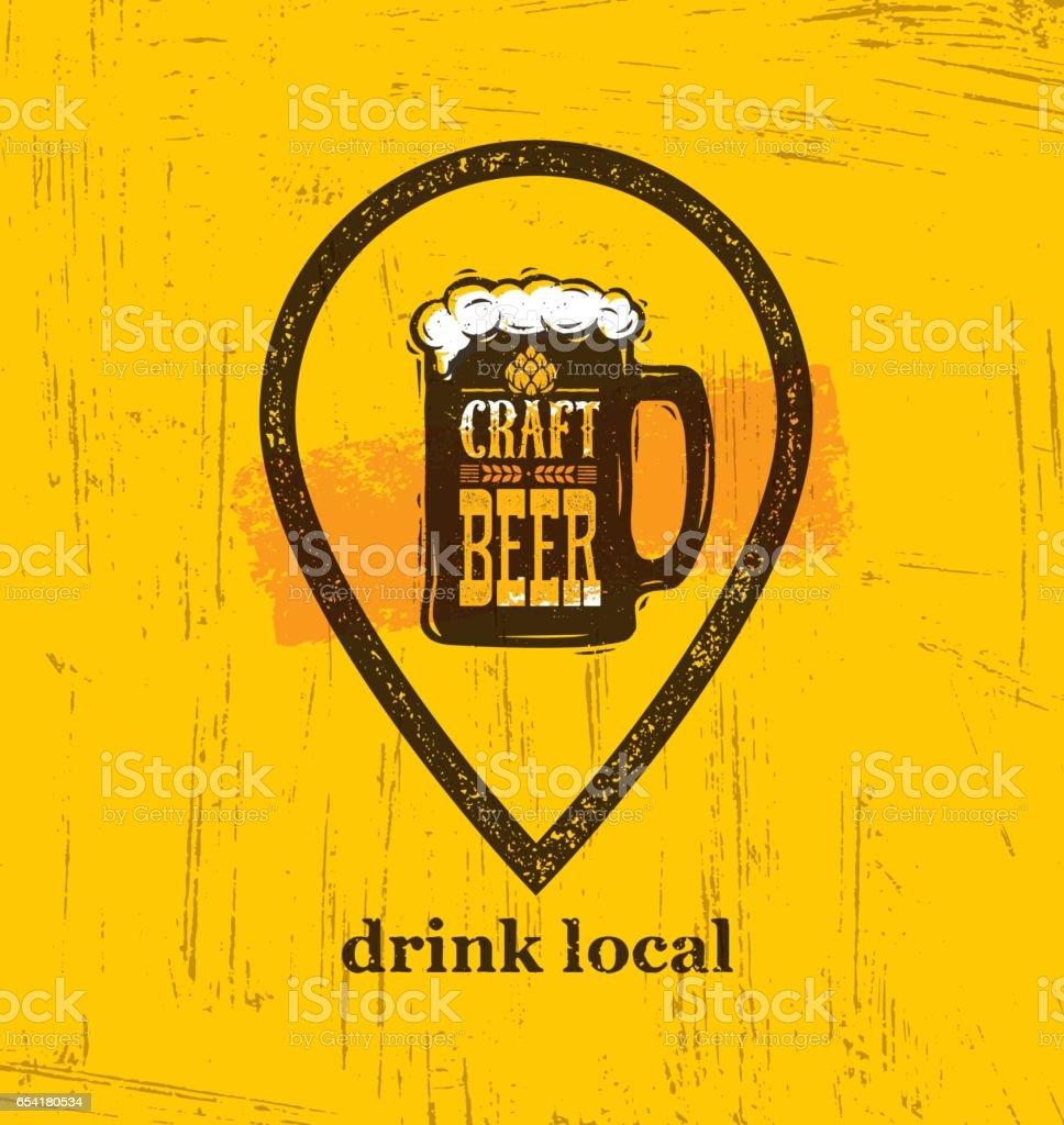 Trinken Sie lokales Handwerk Bier kreative Banner Konzept auf rauen Untergrund. Getränke-Vektor-Design-Element – Vektorgrafik