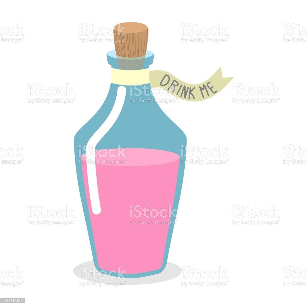 Drink Me potion. Pinc Magic elixir in bottle. illustration for Alice in Wonderland vector art illustration