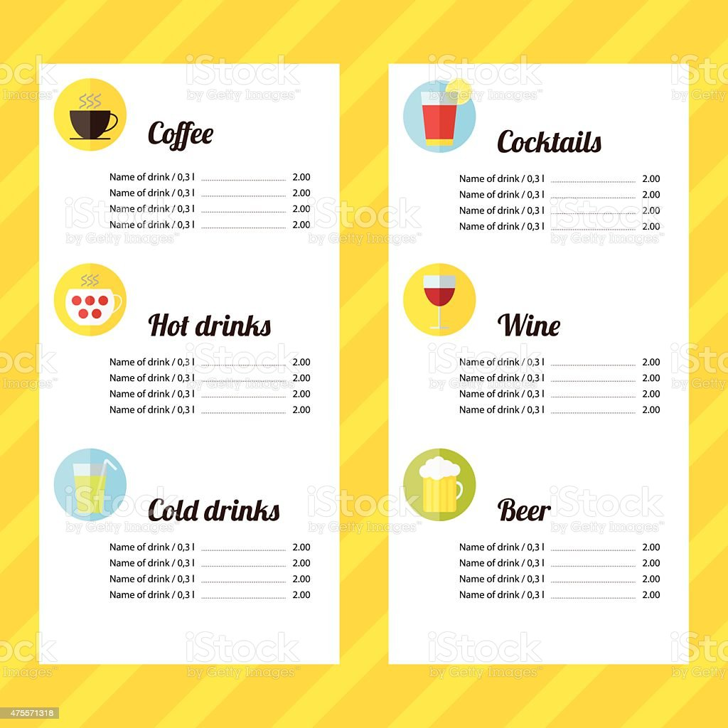 Drink Menu Template Stock Vector Art 475571318 IStock Drink Menu Template  Vector Id475571318 Drink Menu Template  Drinks Menu Template