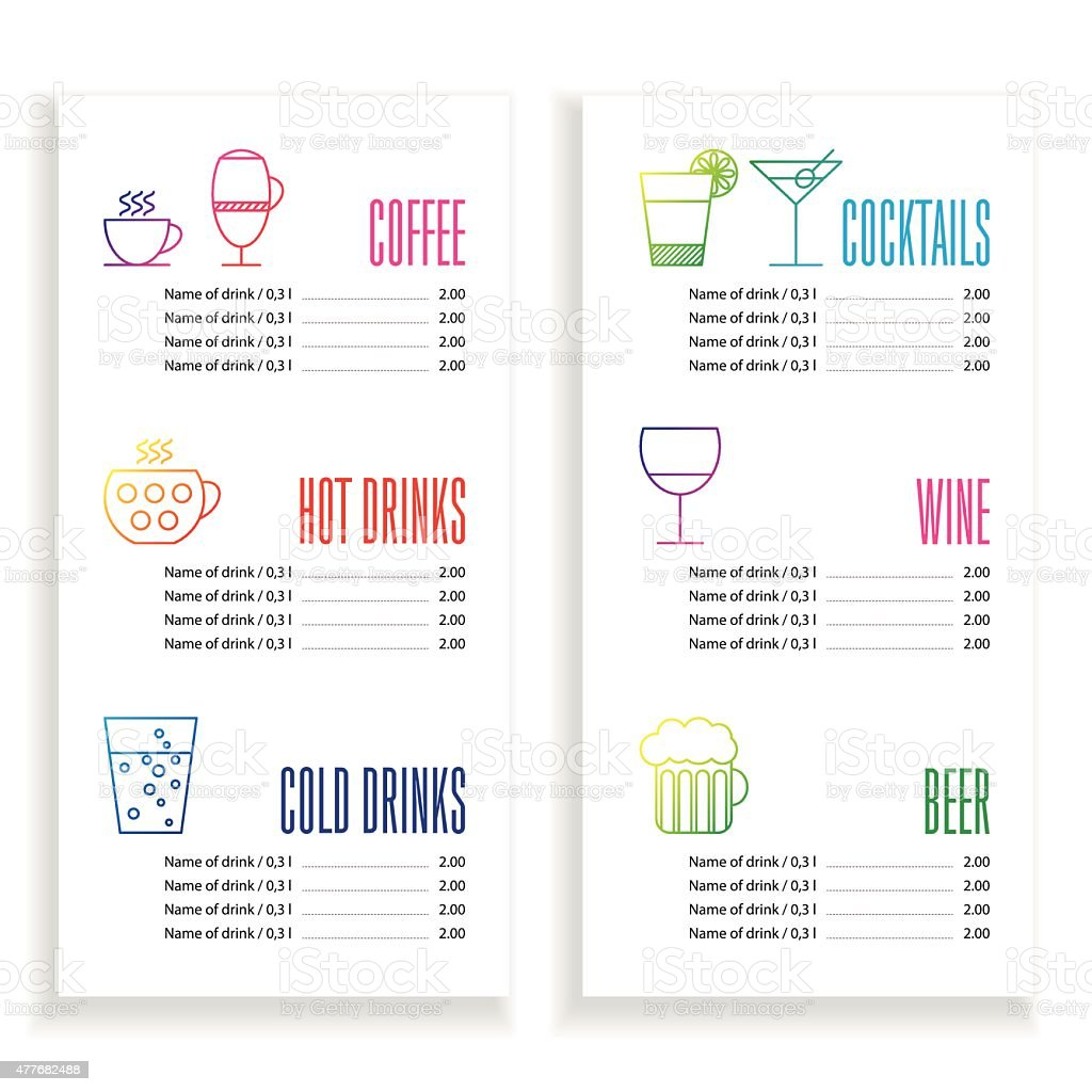 Drink Menu Template Royalty Free Drink Menu Template Stock Vector Art U0026amp;  More Images  Drinks Menu Template