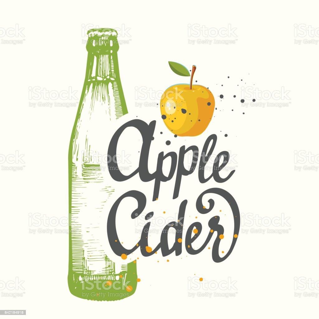 Getränkekarte. Vektor-Illustration mit Cider Apple Flasche im Stil der Sketch für Pub. Alkoholische Getränke – Vektorgrafik