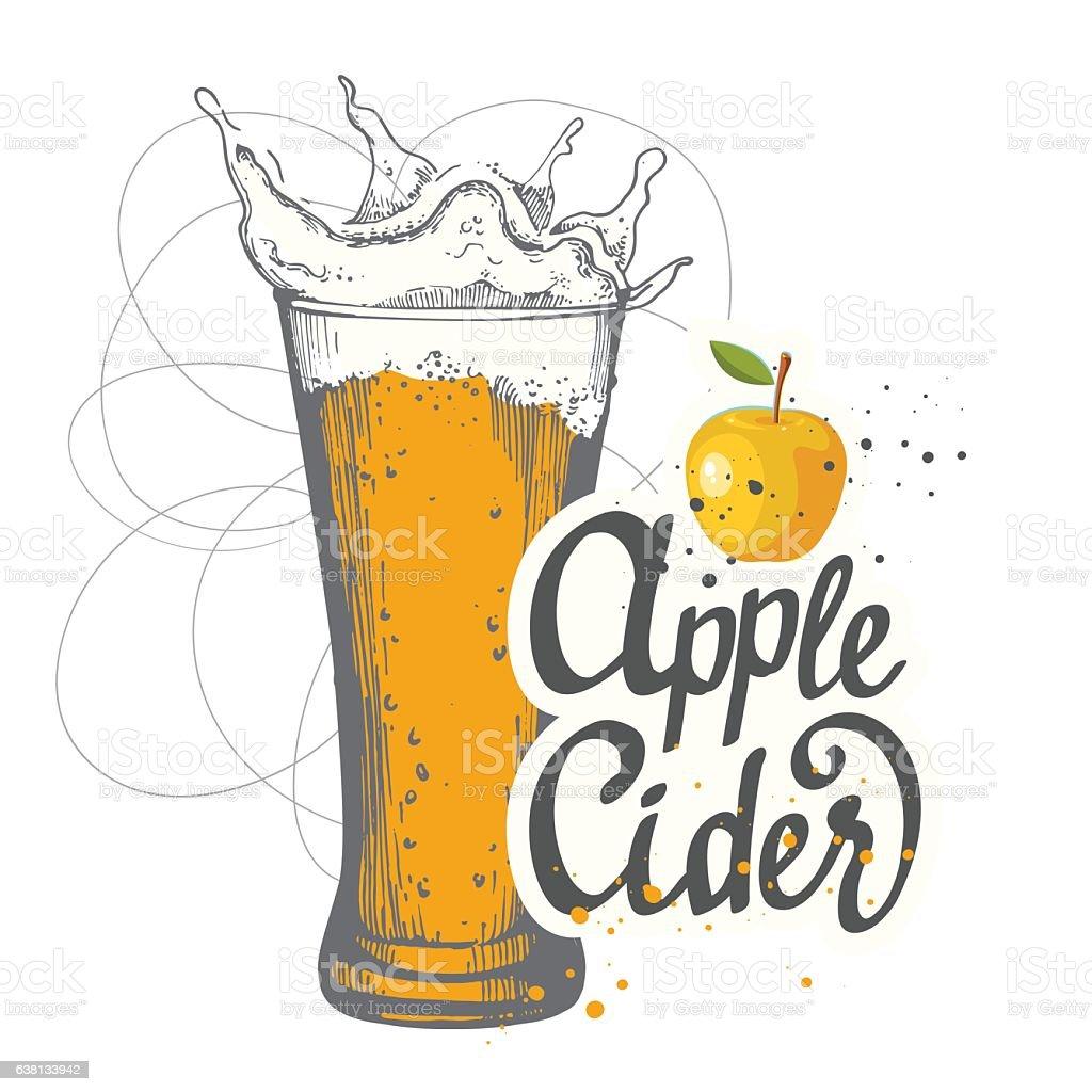 Drink menu. Vector illustration with cider apple glass in sketch – Vektorgrafik