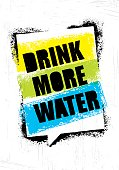 Drink More Water. Healthy Nutrition Motivation Quote Concept On Rough Wall Background.