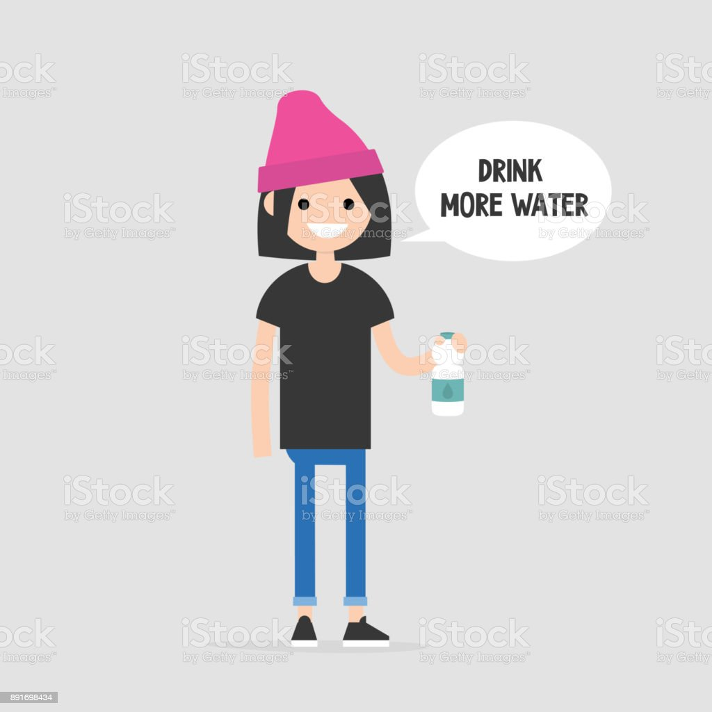 Drink more water. Helpful advice. Healthy lifestyle. Flat editable vector illustration, clip art. Young female character holding a plastic bottle vector art illustration