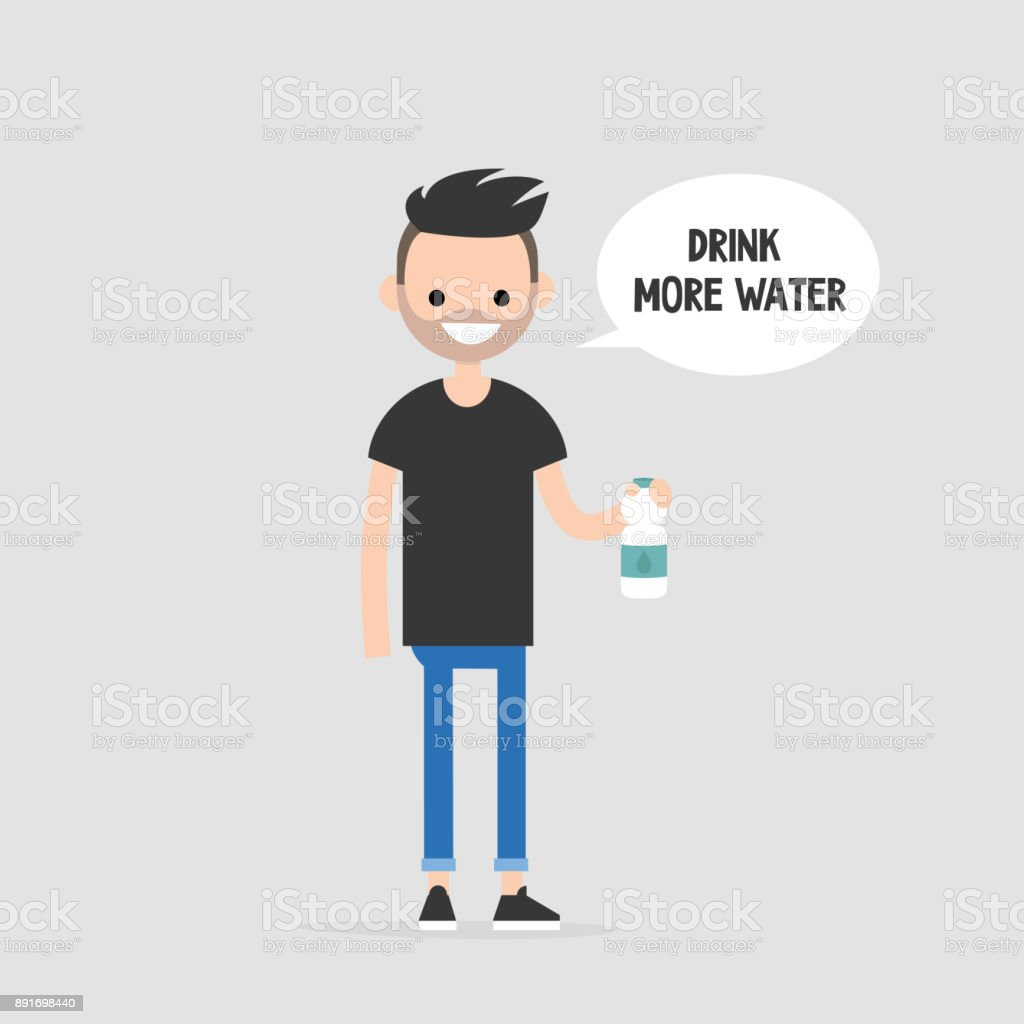 Drink more water. Helpful advice. Healthy lifestyle. Flat editable vector illustration, clip art. Young character holding a plastic bottle vector art illustration