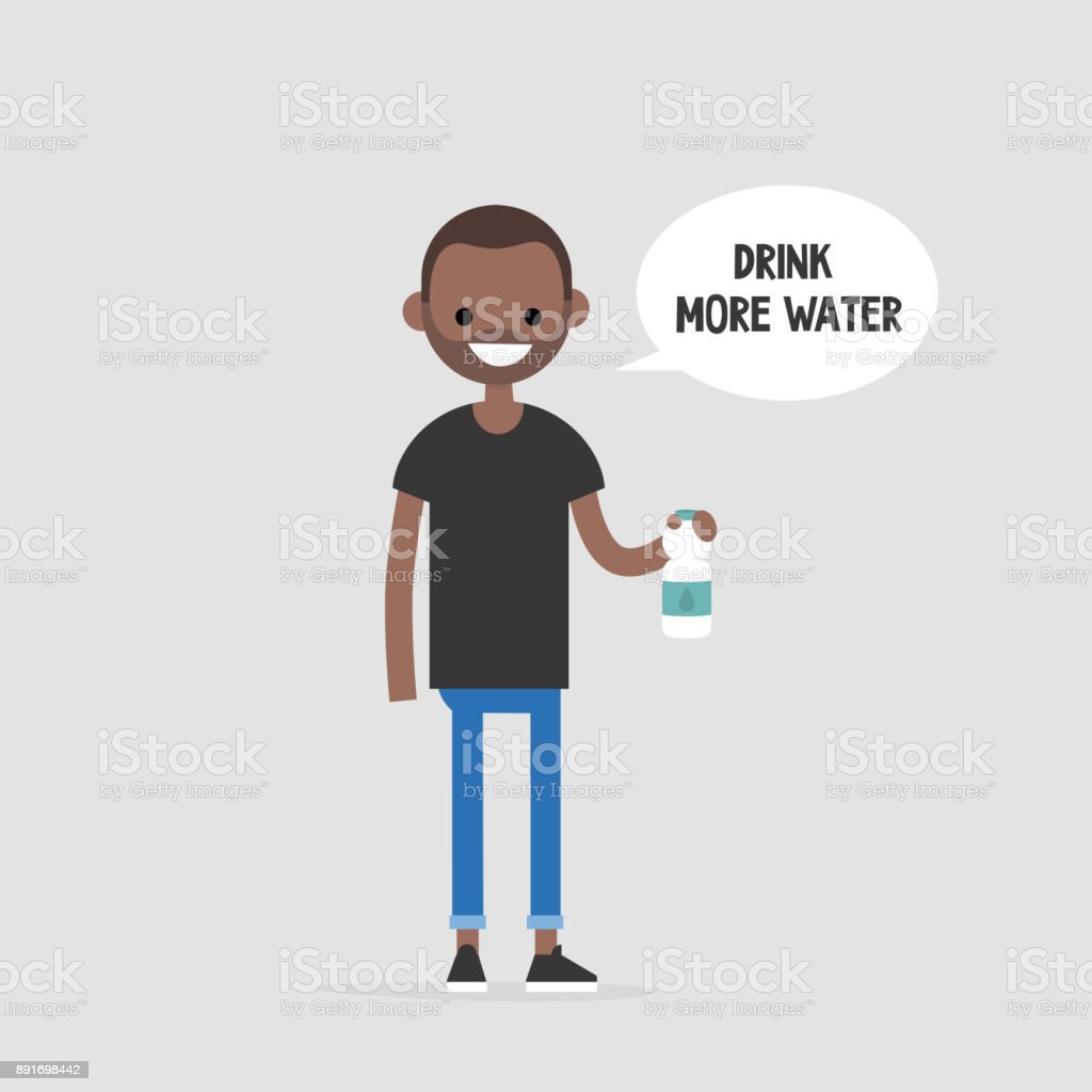 Drink more water. Helpful advice. Healthy lifestyle. Flat editable vector illustration, clip art. Young black character holding a plastic bottle vector art illustration