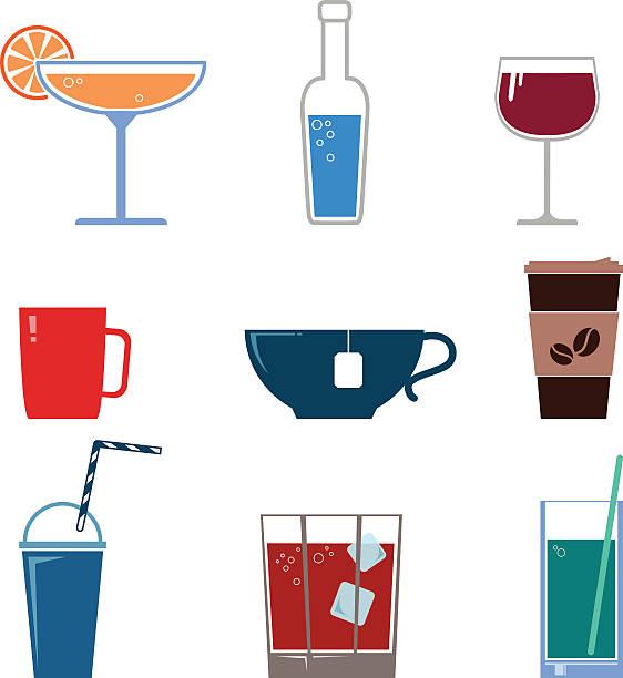 illustrazioni stock, clip art, cartoni animati e icone di tendenza di bevande icone vettoriali - fruit juice bottle isolated