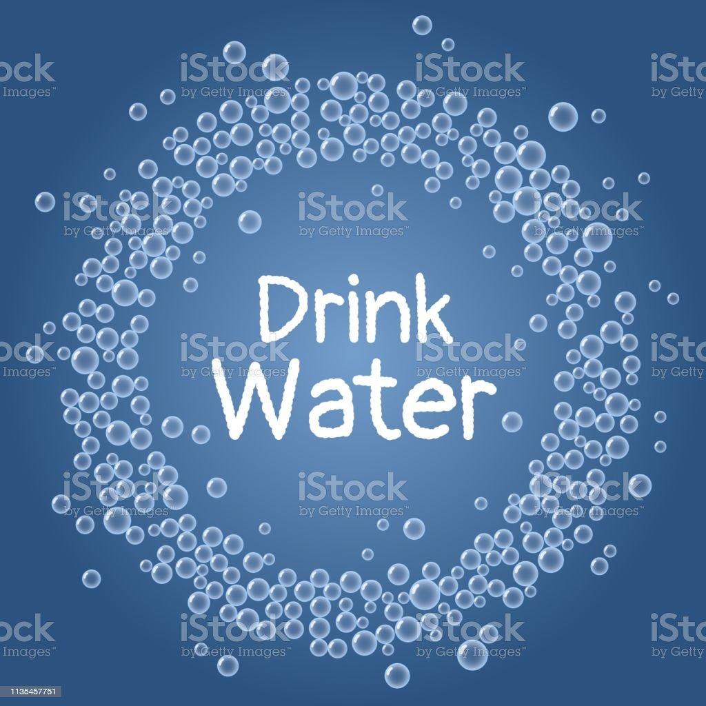 Beba o texto da água. Permaneça o cartão azul hidratado da grinalda das bolhas - ilustração de arte em vetor