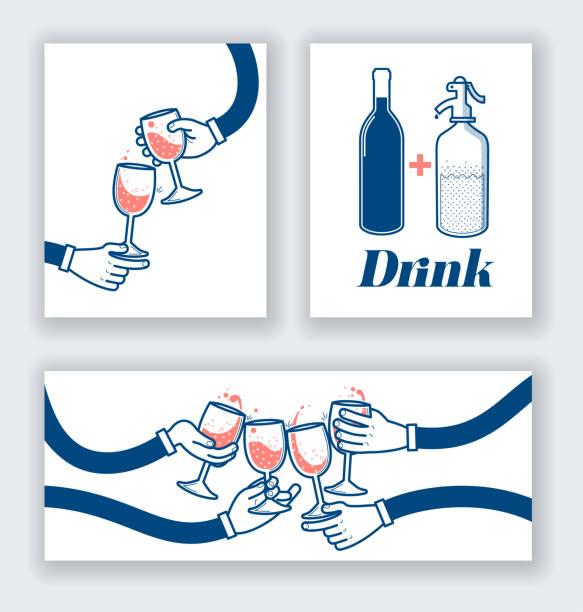 ilustrações, clipart, desenhos animados e ícones de beber vinho e refrigerante - brinde