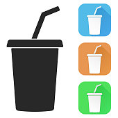 Drink with straw. Colored icons. Vector illustration isolated on white background