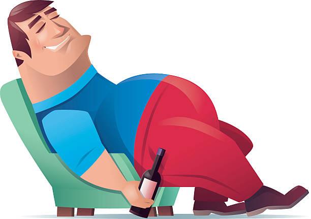 Best Cartoon Of Fat Guy Sleeping Illustrations, Royalty ...