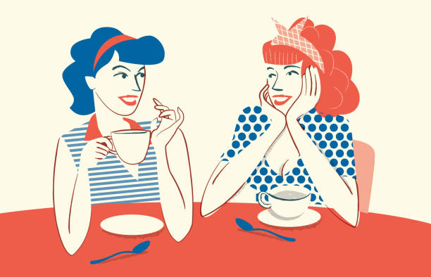 drinking coffee and talking - only women stock illustrations