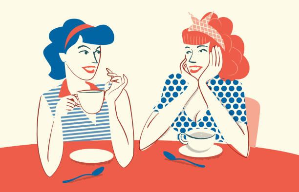 bildbanksillustrationer, clip art samt tecknat material och ikoner med dricka kaffe och prata - kvinna tillfreds