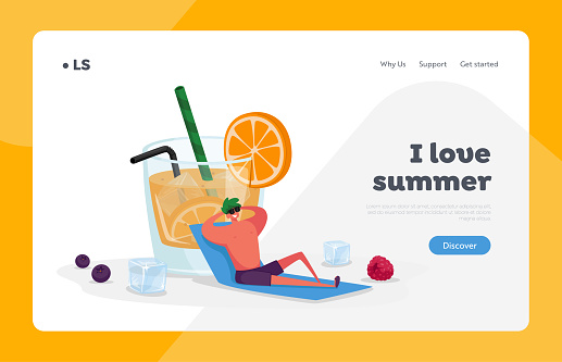 Drinking Cold Drink at Summer Time Landing Page Template. Tiny Male Character in Relax at Huge Glass with Orange Juice, Slice and Straw. Man Enjoying Summertime Vacation. Cartoon Vector Illustration