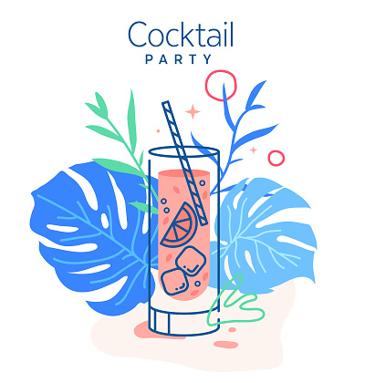 Drinking cold mojito cocktail surrounded with monstera leaves vector illustration. Trendy minimal line design. Pink cocktail set for restaurant illustrations and bar designs.