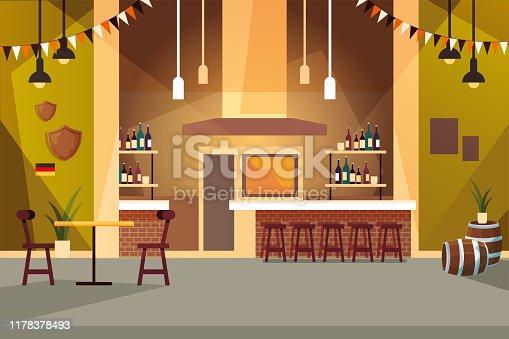 drinking establishment and shelves with alcohol bottles vector illustration design