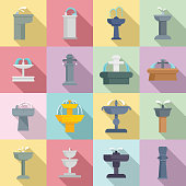 Drinking fountain icons set. Flat set of drinking fountain vector icons for web design