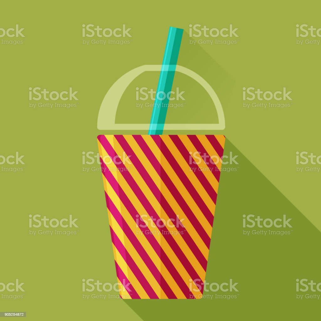 Drinking glass and straw vector art illustration