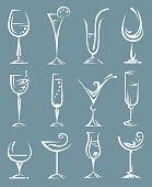 set of wine and liqueur glasses
