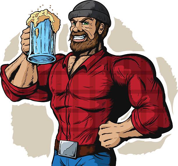 drinking lumberjack - plaid shirt stock illustrations