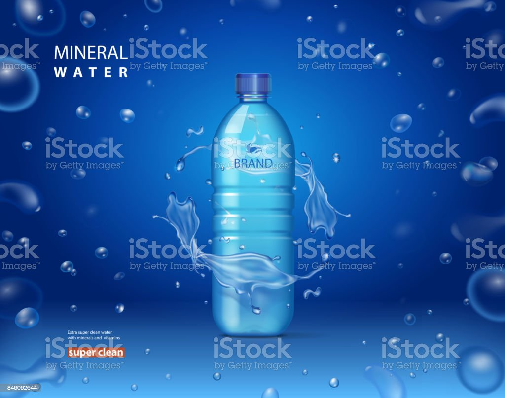 Drinking mineral water bottle ad on blue background with shiny sparkling drops. realistic 3d vector illustration vector art illustration