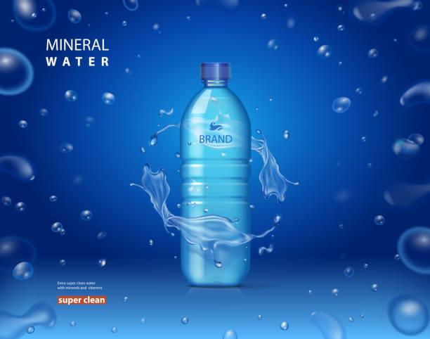 ピカピカ輝く滴で青い背景にミネラルウォーター ボトル広告を飲みます。リアルな 3 d ベクトル イラスト - ペットボトル点のイラスト素材/クリップアート素材/マンガ素材/アイコン素材