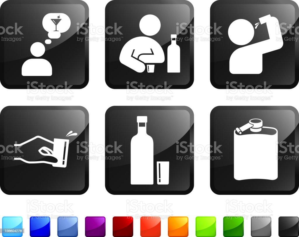 Drinking Problem royalty free vector icon set vector art illustration