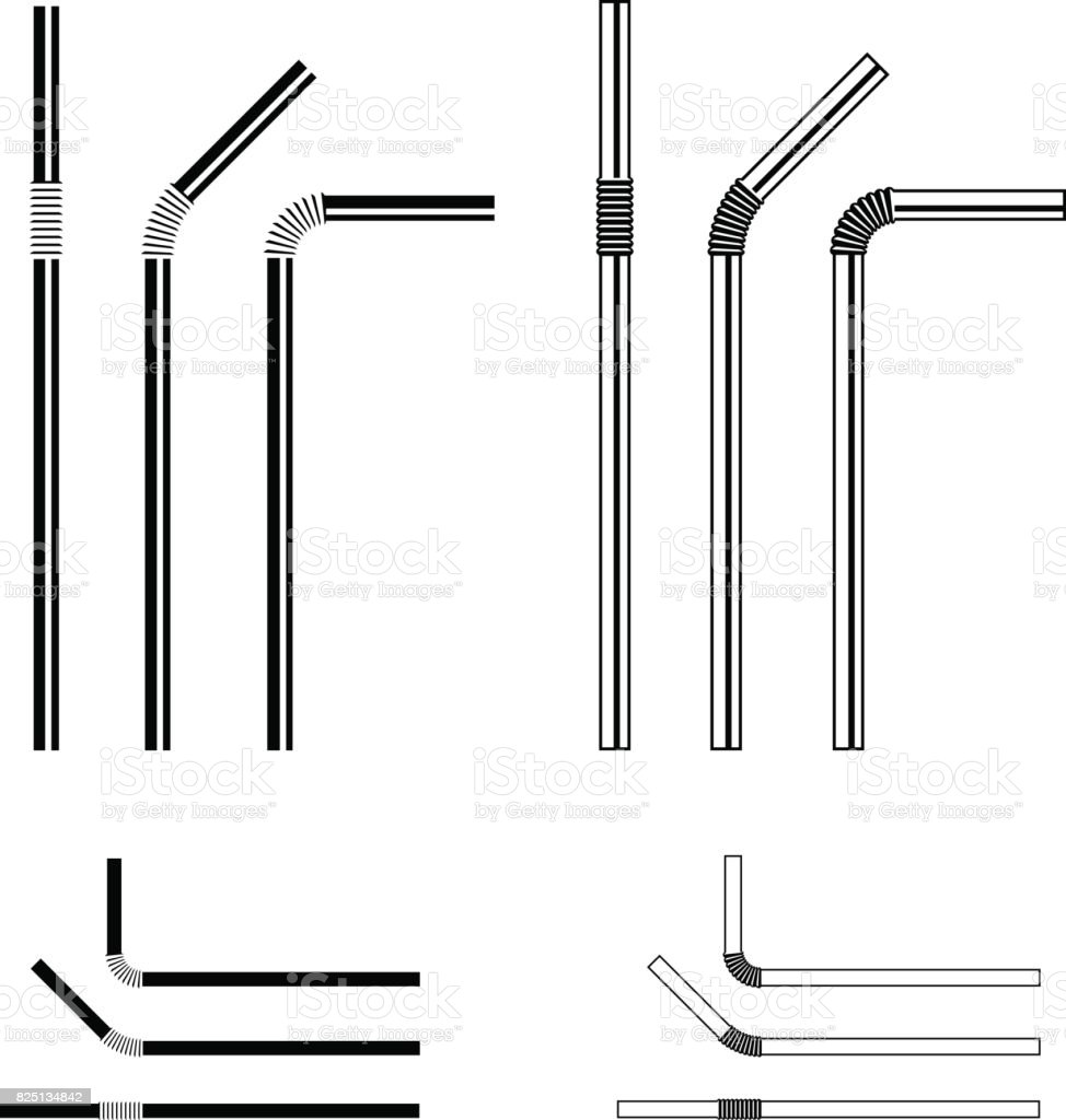drinking straw black symbol vector vector art illustration