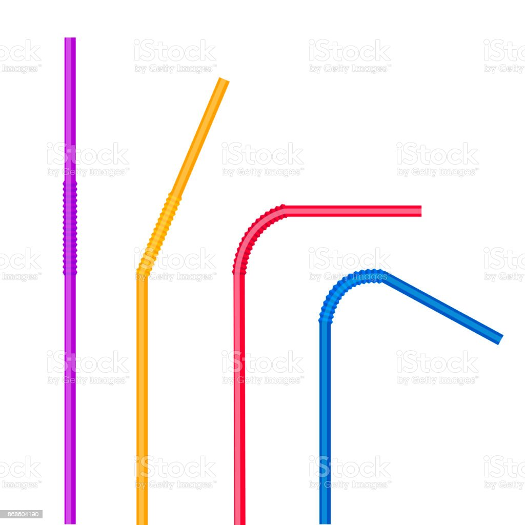 Drinking straws set. Vector colorful pipe tube plastic straw for juice, cocktail isolated. vector art illustration