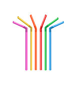 Vector image of different and brightly colored drinking straws