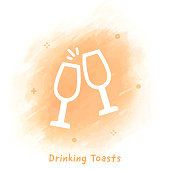 Vector toasting line icon over watercolor background.