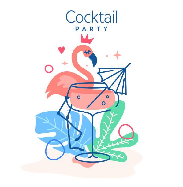 bildbanksillustrationer, clip art samt tecknat material och ikoner med dricka tropisk cocktail omgiven av monstera blad och flamingo vektor illustration. trendig minimal linje design. bästa hawaii rosa cocktail set för restaurang illustrationer och bar design. - vin sommar fest
