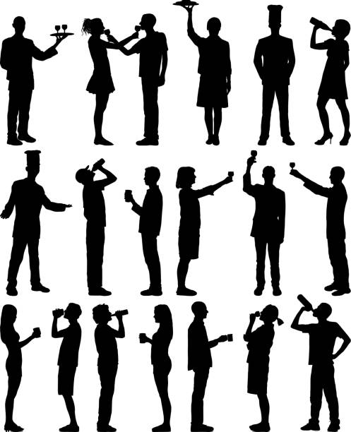 Drinking People drinking. alcohol drink silhouettes stock illustrations