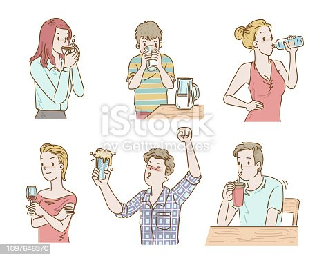 Cute little boy drinking milk from glass. The girl is drinking water from the bottle, white red in the glass, drinking coffee, men drinking beer and holding up.  cartoon vector hand drawing.