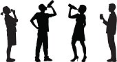 Silhouettes of people drinking.