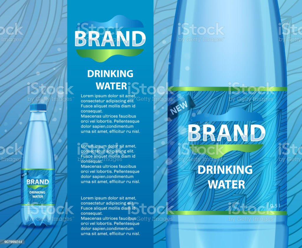 Drinking water bottle ad realistic vector illustration vector art illustration