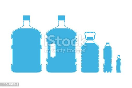 Set of different size plastic drinking water bottles isolated on white background. Vector illustration