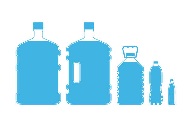 Drinking water bottles Set of different size plastic drinking water bottles isolated on white background. Vector illustration volume fluid capacity stock illustrations