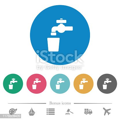 Drinking water flat white icons on round color backgrounds. 6 bonus icons included.