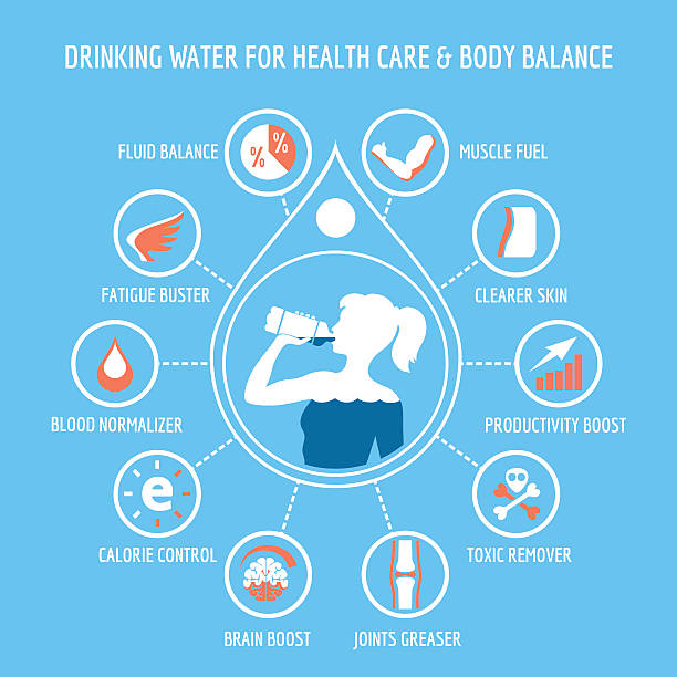drinking water for health care infographic - sports medicine stock illustrations, clip art, cartoons, & icons