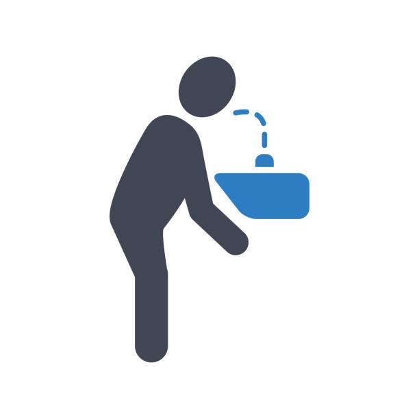 drinking water icon - fontanna stock illustrations