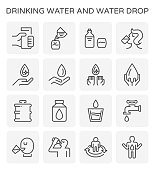 Drinking water and water drop and healthy vector icon set design for drinking water graphic design element, editable stroke.