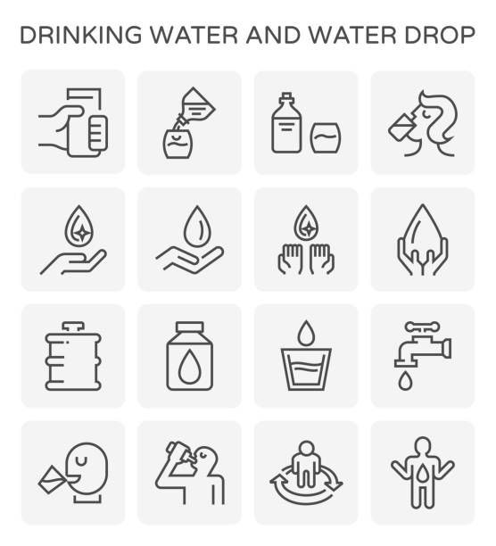 ilustrações de stock, clip art, desenhos animados e ícones de drinking water icon - bebida