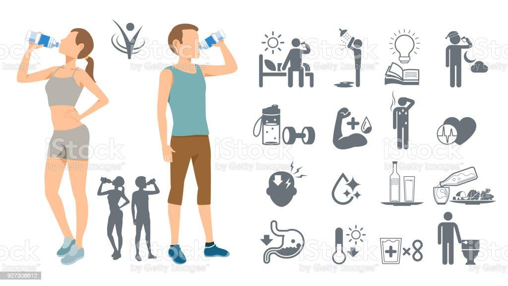 Eau potable pour garder le corps en bonne santé. Conscience de soi simple. Meilleure boisson de la condition physique. - Illustration vectorielle