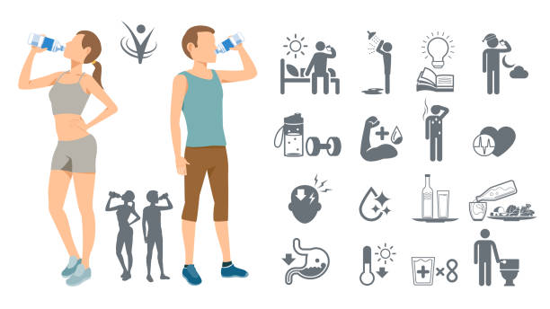 drinking water to keep the body healthy. simple self-awareness. best drink of physical fitness. - drinks stock illustrations, clip art, cartoons, & icons