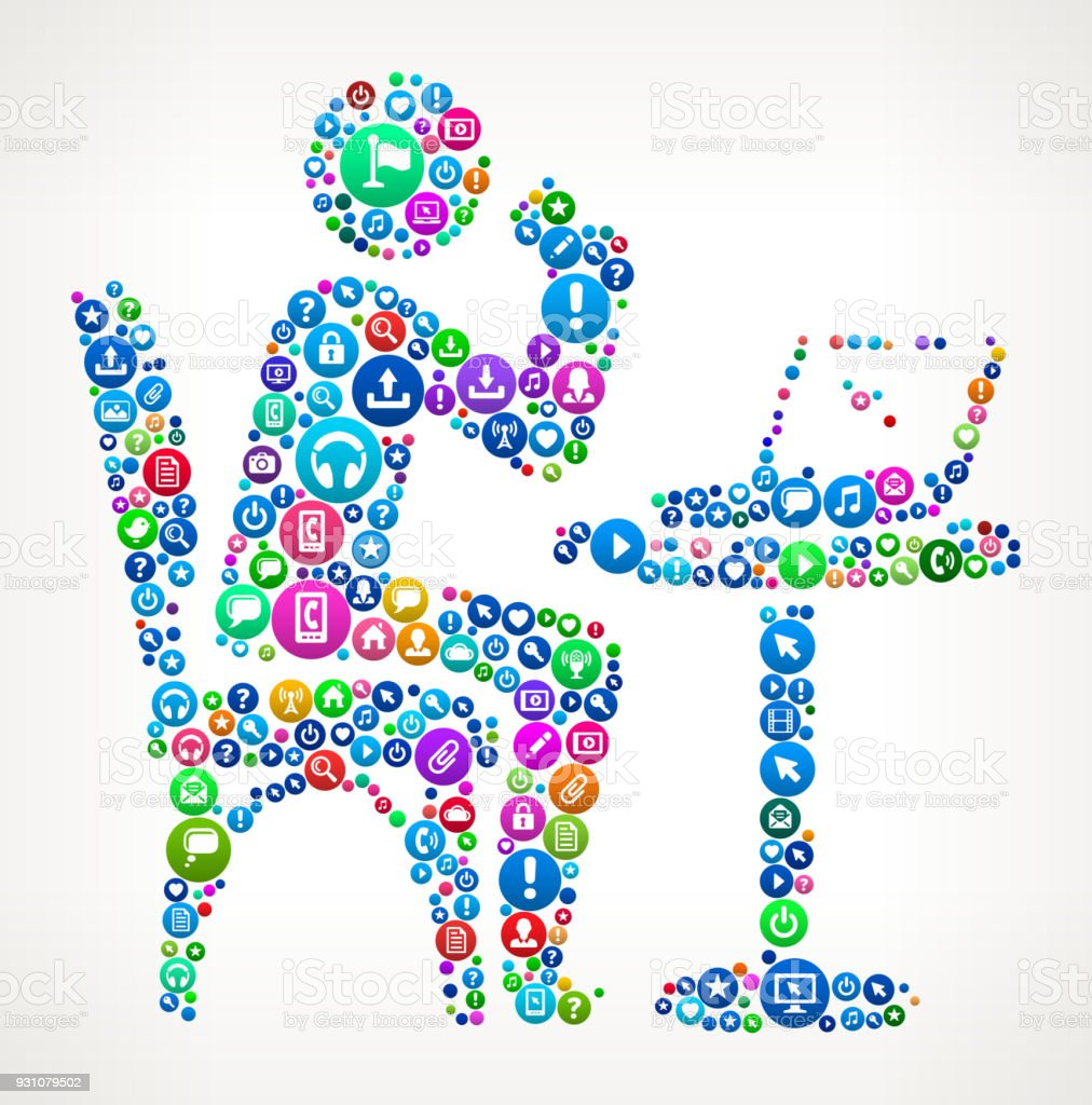 Drinking & Working Internet Communication Technology Icon Pattern vector art illustration